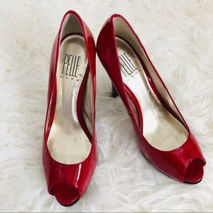 Pelle Moda Patent Red Peep Toe Stiletto Pumps 8M